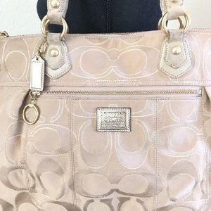 Coach Bags - COACH tan, pink large tote w metallic highlights